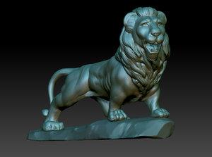 lion sculpture obj