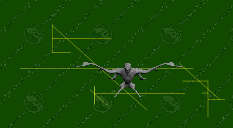 3d alien bird model