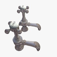 3d model of chrome victorian taps