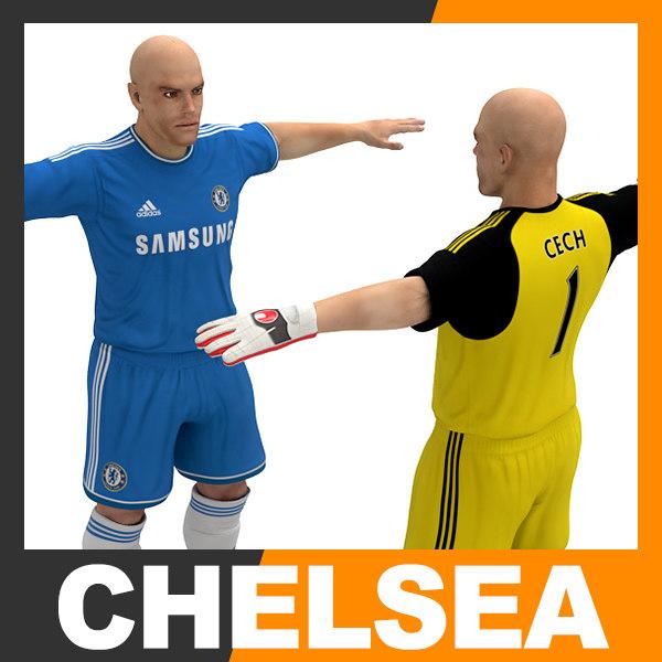 3d football player - chelsea model