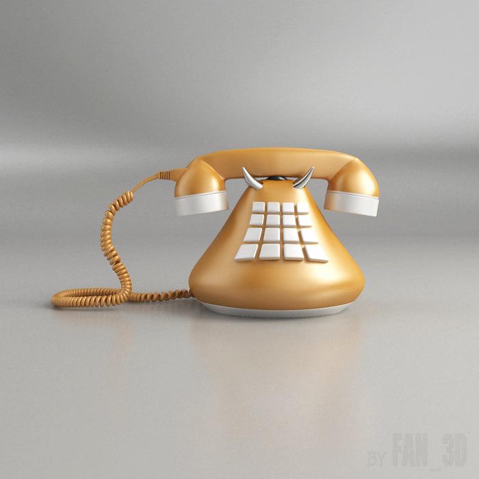 phone retro 3d obj