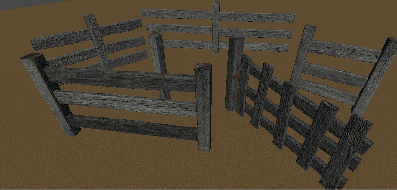 old wooden fence kit 3d model