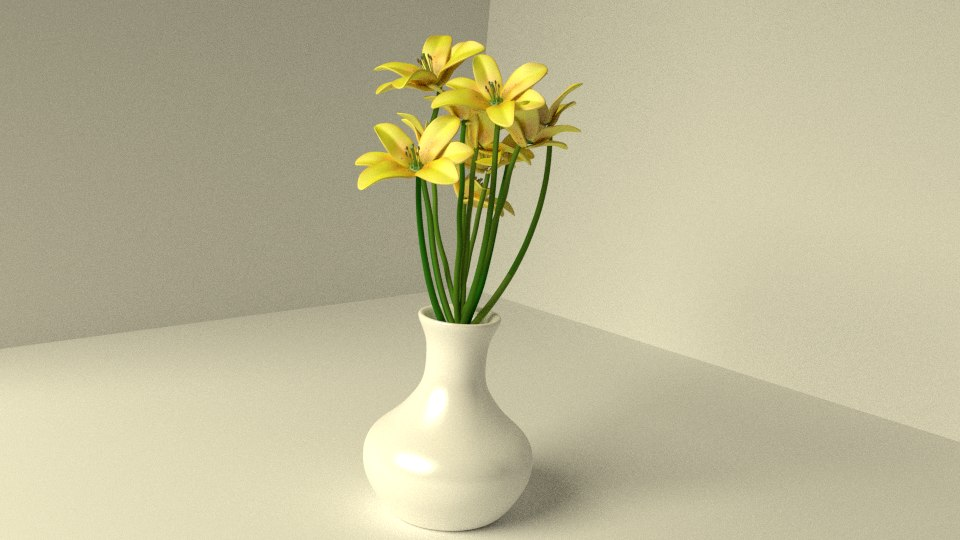 3d model yellow lilies vase flowers