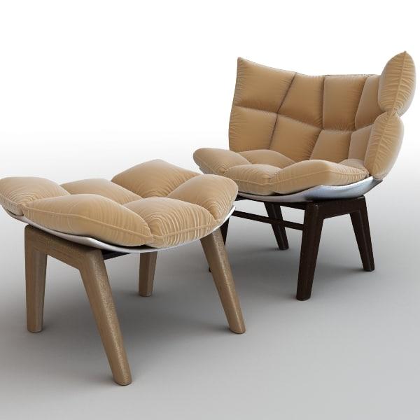 armchair ottoman chair 3d max