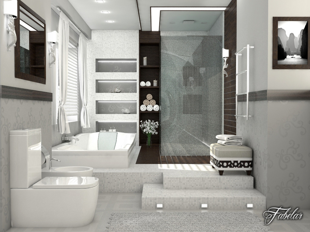 Bathroom scene 3d max for Bathroom design 3d model