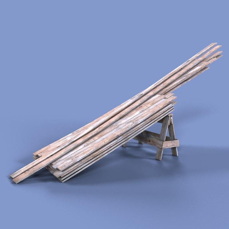 3d model boards pile