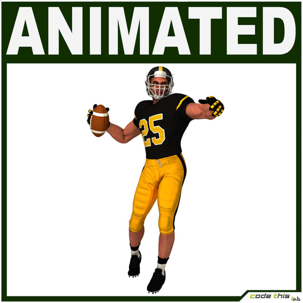 team player american football 3d obj