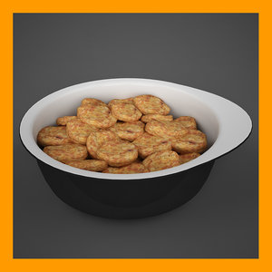 serving bowl breaded nuggets 3d model