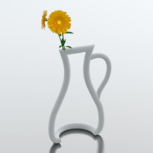 outline vase flowers 3ds