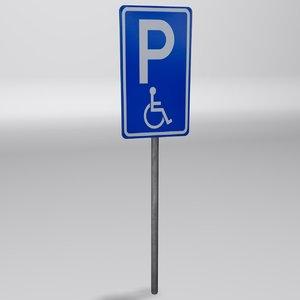 3d parking sign
