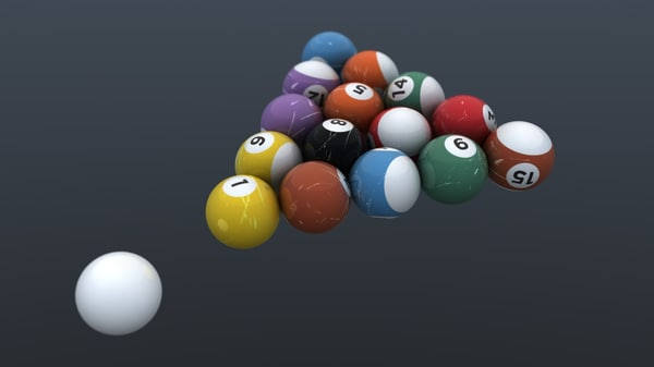 set billiard balls 3d model