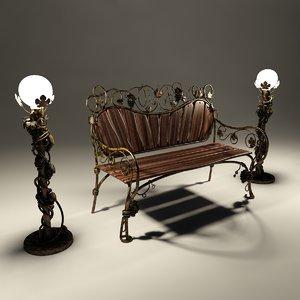 3d bench lamps model