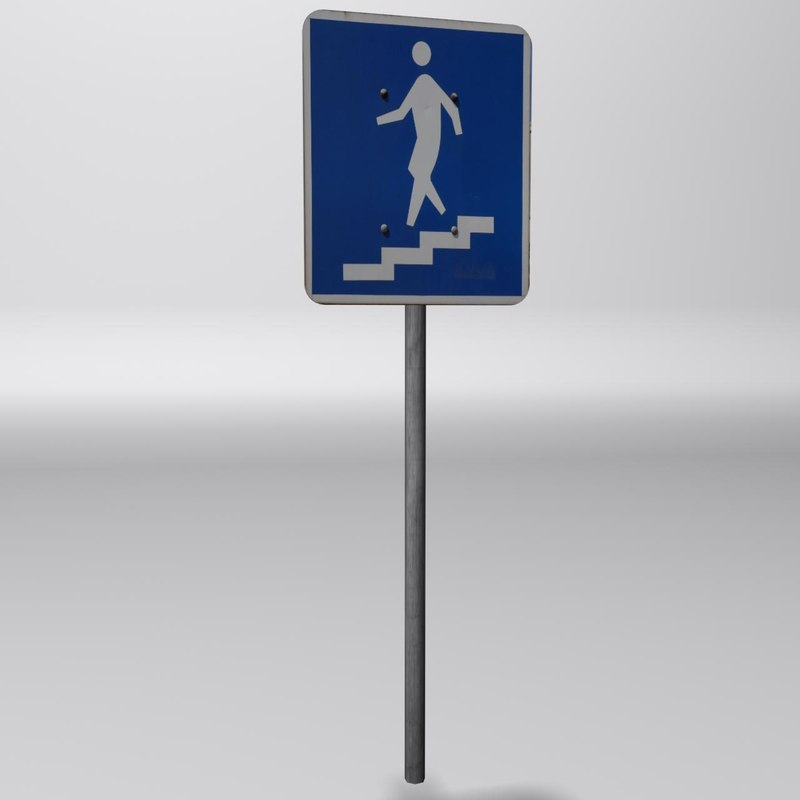 3ds pedestrian stairs sign