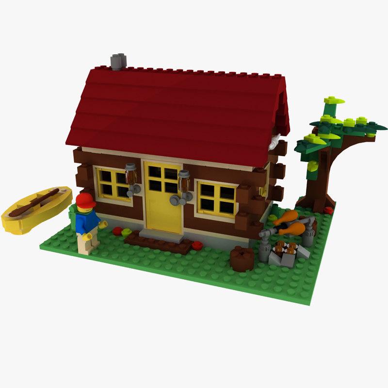 3d model logs cabin lego