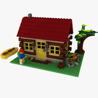 3d model logs cabin lego