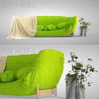 3d green sofa model