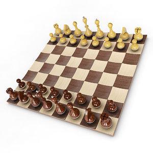 wobble chess set 3d model