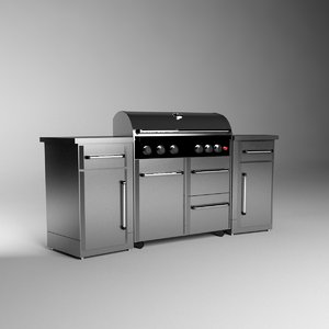 professional outdoor grill 3d model