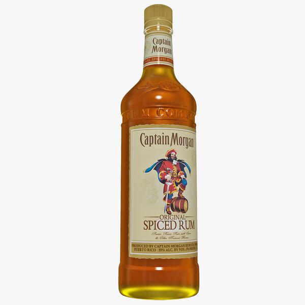captain morgan bottle rum 3d model