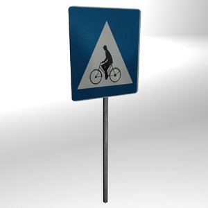 bicycle path sign 3ds