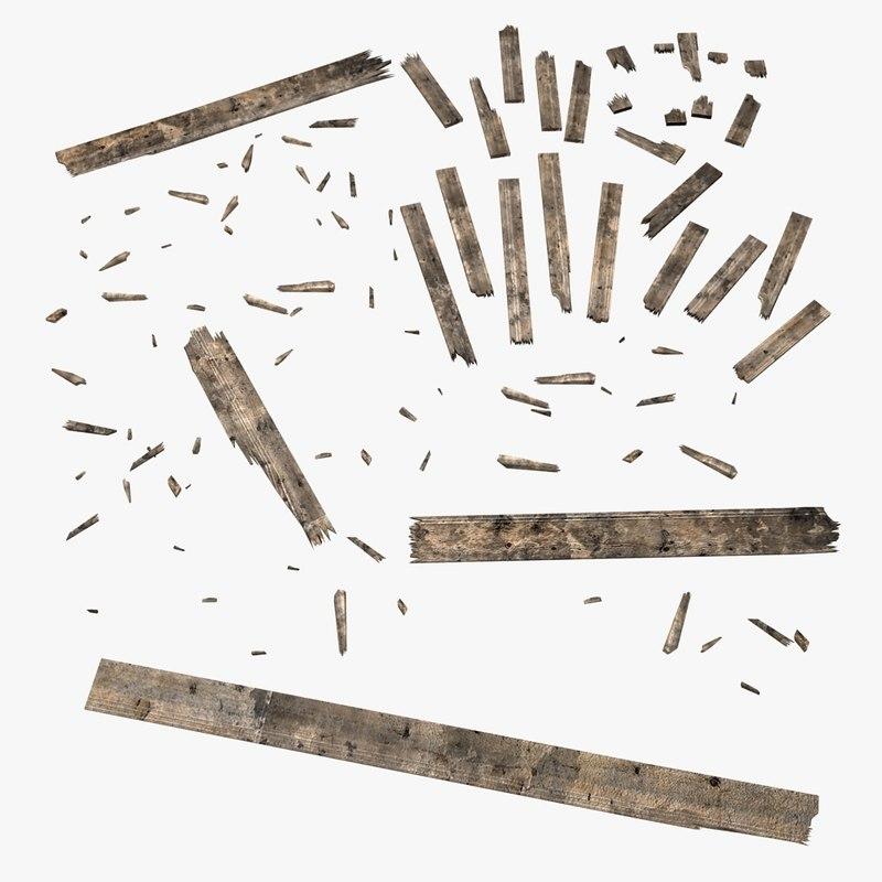 D model damaged wooden planks