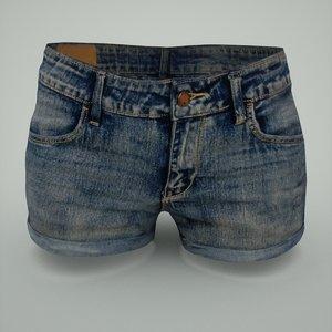 woman jeans hotpants obj