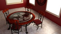 decorative leaf dining room 3d model