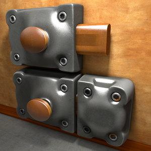 metal door lock 3d c4d