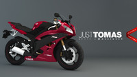 yamaha r6 2007 red 3d c4d