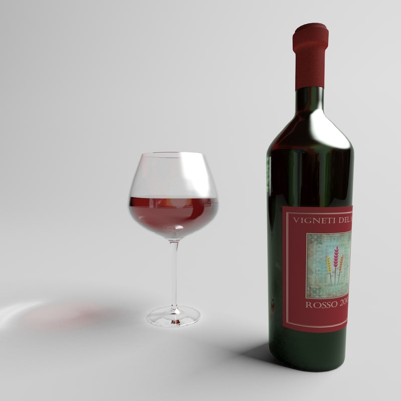3d model red wine glass bottle