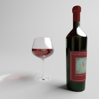 Glass & Bottle Red wine