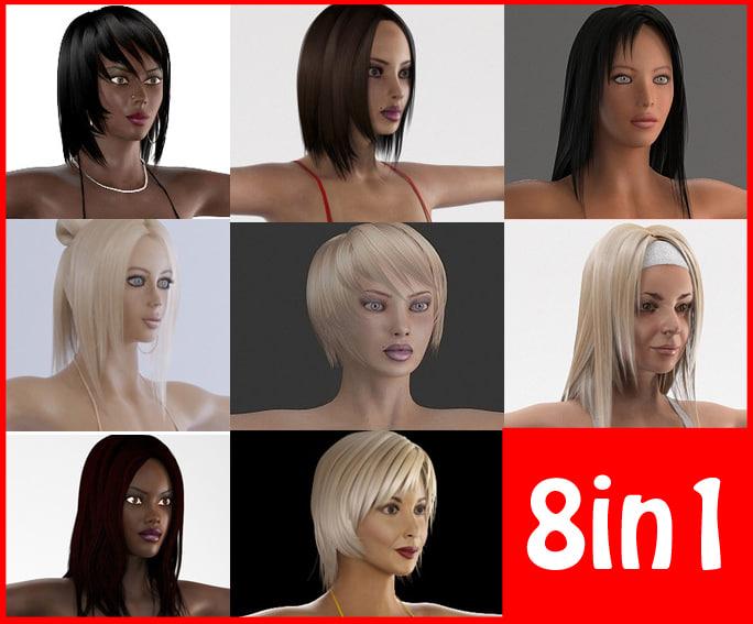 girls 1 woman 3d model
