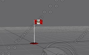free flag perú 3d model