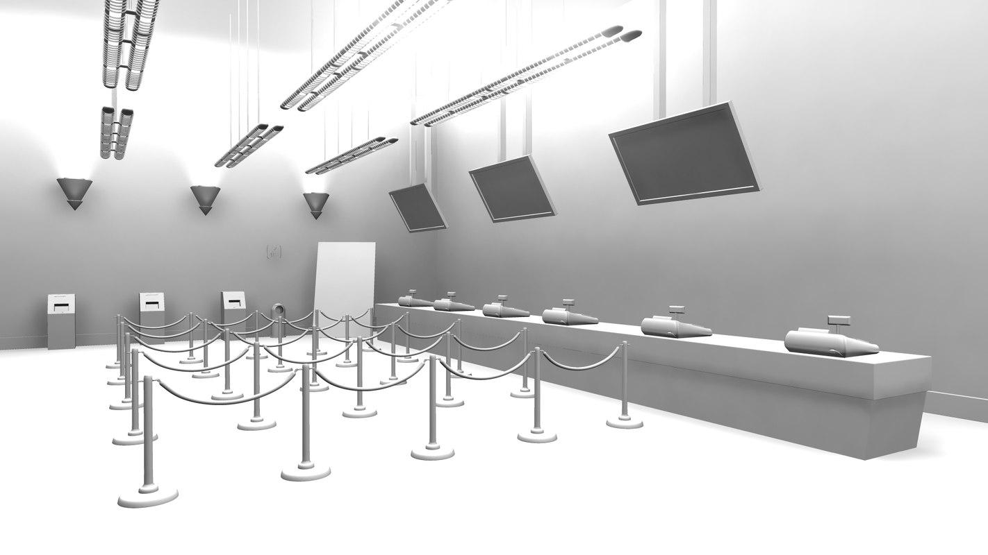 multiplex bar halls 3d model