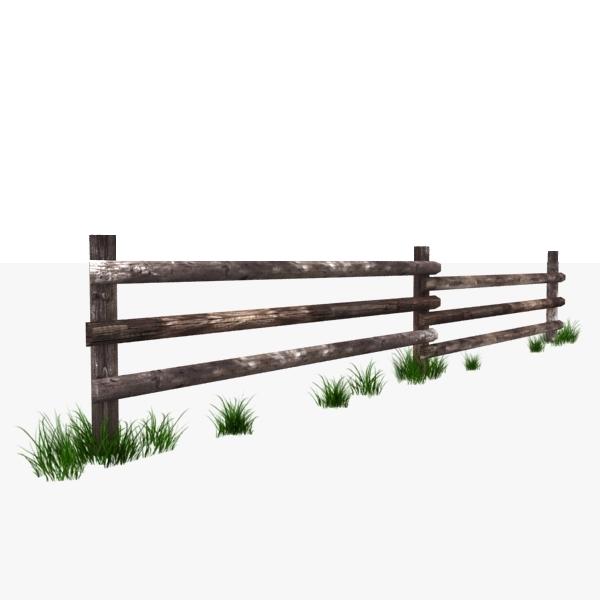 wooden fence polys 3d model
