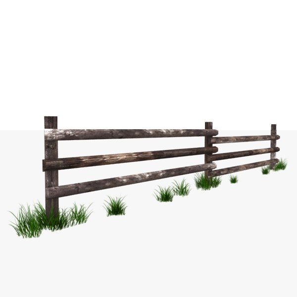 wooden fence polys 3d model