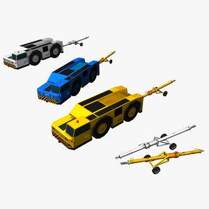 3d model airport tow truck bar