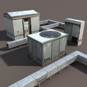 roof elements modelled 3d 3ds