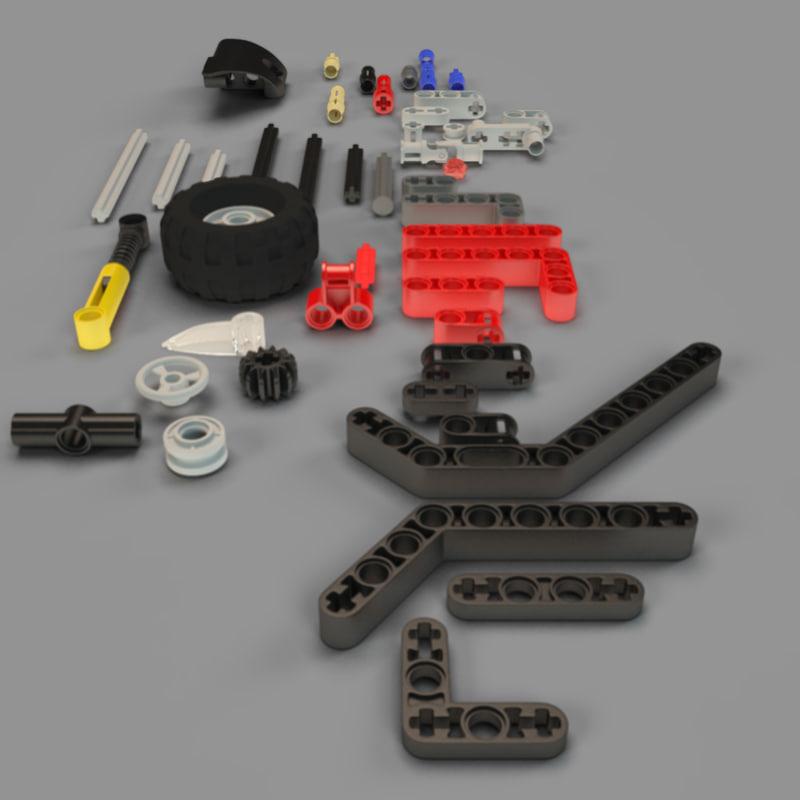 3d model lego technic pieces