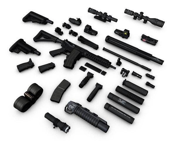 3d weapons m4 sopmod scar-h