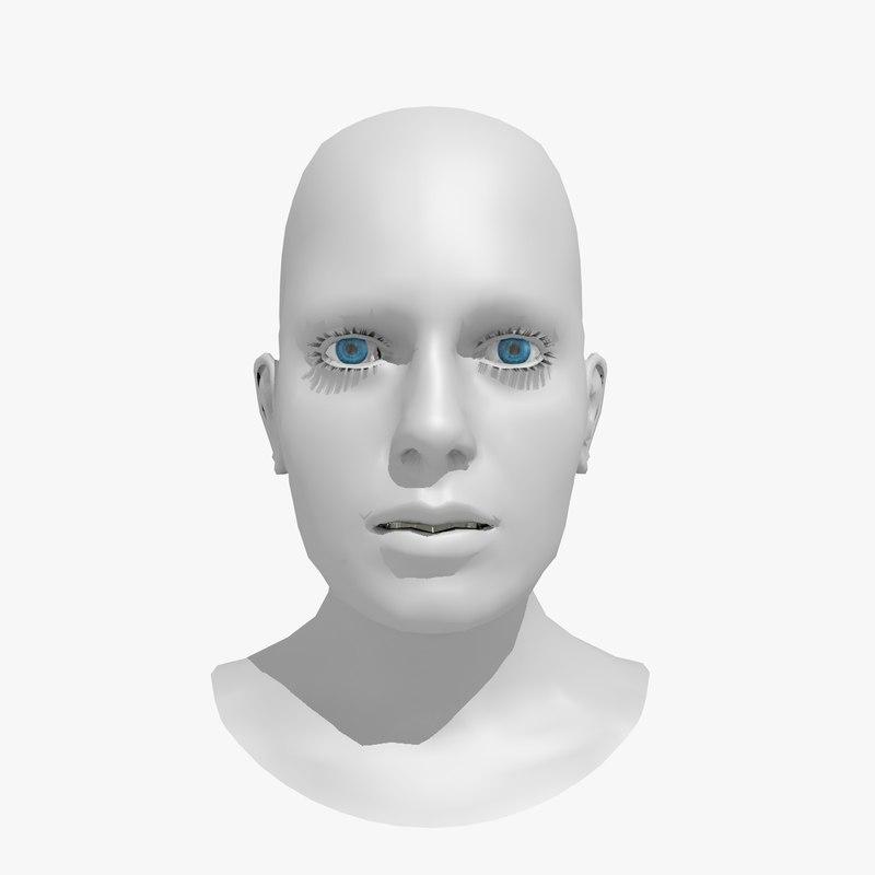 3d realistically modeled woman head model