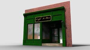 3d café storefront