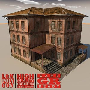 3d weathered house games model