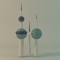 3d kuwait towers