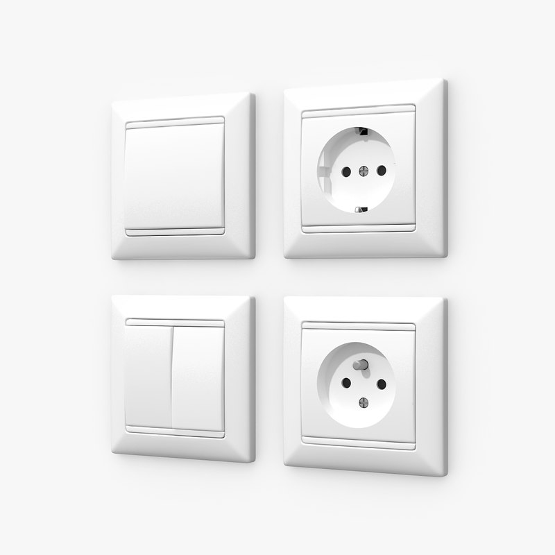 wall switches sockets 3d 3ds