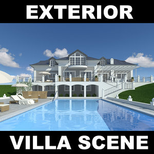 3ds max villa pool house