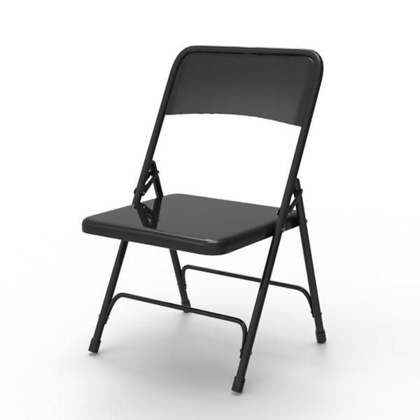 Black Metal Folding Chairs 3d metal folding chair