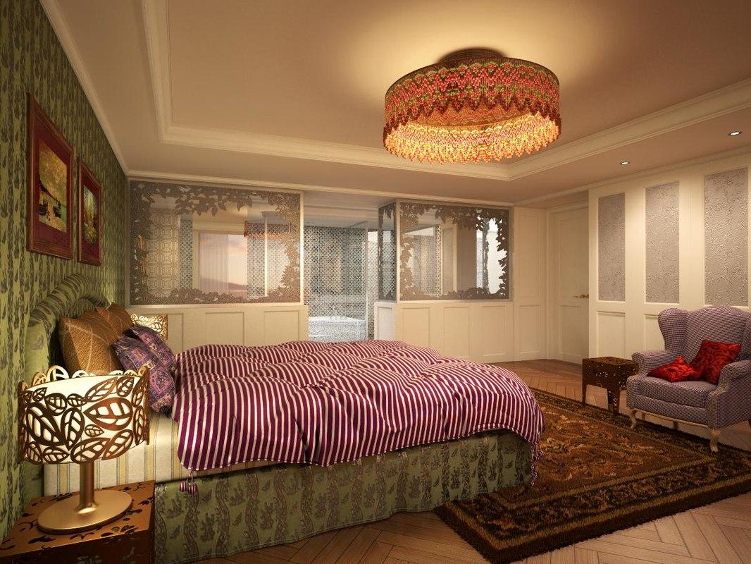 3d model classic bed bath room