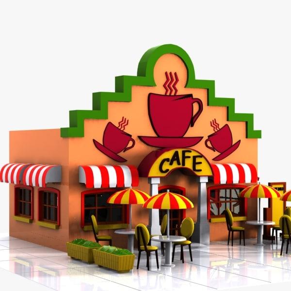 3d cartoon cafe toon model