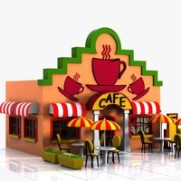 3d cartoon cafe toon model